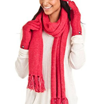 Aegean Apparel Women's Marshmallow Sparkle Winter Hat, Scarf & Gloves Gift Set (One Size, Red)