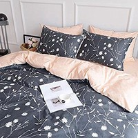 HIGHBUY Lightweight Flowers Printed Kids Duvet Cover Set Twin Dark Grey Peach Premium Cotton 3-Pieces Reversible Comforter Covers Children Soft Cotton Kids Bedding Set Twin,Style03