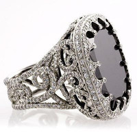 AMAZING 15.25CTW BLACK CUSHION 925 STERLING SILVER ENGAGEMENT AND WEDDING RING