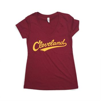 Cleveland Athletic Script - Wine and Gold V Neck T-shirt