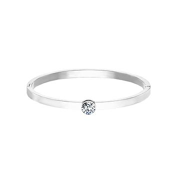 Only You In Silver Bracelet - Bezel Set Round CZ on Stainless Steel IP Hinged Bangle Bracelet
