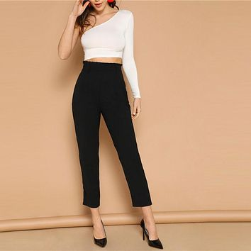 Black Elegant Office Lady Paperbag Waist Tapered Solid Minimalist Pants Casual Workwear Crop Trousers
