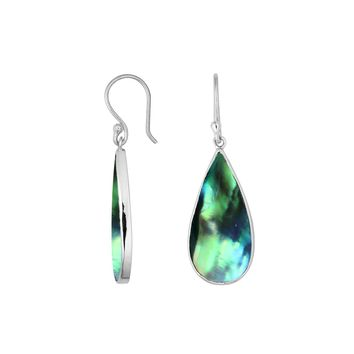 AE-6188-AB Sterling Silver Pear Shape Earring With Abalone Shell