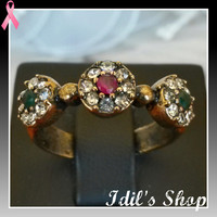 Authentic Turkish Ottoman Style Bronze Ring With Ruby & Emerald Stones. Ring Is Adjustable.
