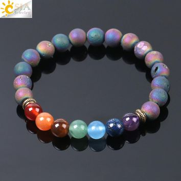 CSJA 7 Chakra Colorful Mineral Beads Bracelets Bangles Natural Gem Stone Rosary Yoga Mala Bead Meditation Men Women Jewelry E953