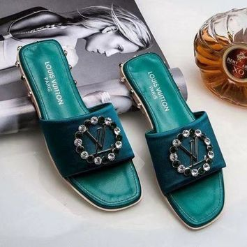 Kalete Louis Vuitton LV Fashion Ladies Personality Rhinestone Diamond Slipper Sandals Shoes Green I