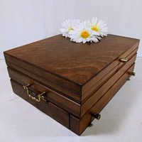 Wooden Silverware Chest Large Heavy 3 Level Dark Wood Place Setting Box with Red Linen Interior & Brass Hardware Flatware Storage Box Chest