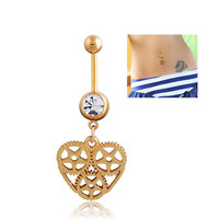 New Charming Dangle Crystal Navel Belly Ring Bling Barbell Button Ring Piercing Body Jewelry = 4651257988