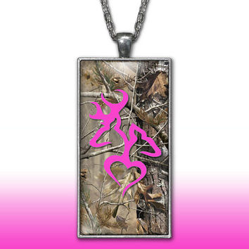 Camo Love Heart Pendant Charm Necklace Deer Head Browning Hot Pink Buck Doe Country Girl Custom Necklace Silver Plated Jewelry