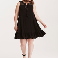 Torrid Insider Gauze & Crochet Trapeze Dress