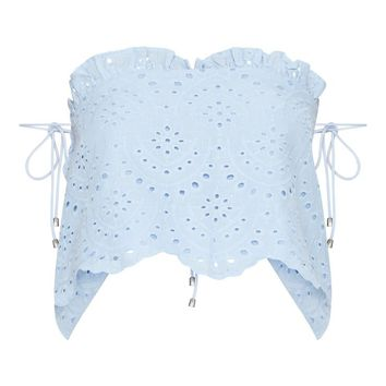 Blue Broderie Anglaise Frill Detail Bandeau Top
