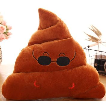 Poop Brown Glasses Emoji Emotion Pillow Stuffed Plush Toy