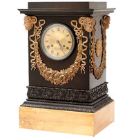French Empire Bronze Mantle Clock on Sienna Base by Ledure of Paris c.1820