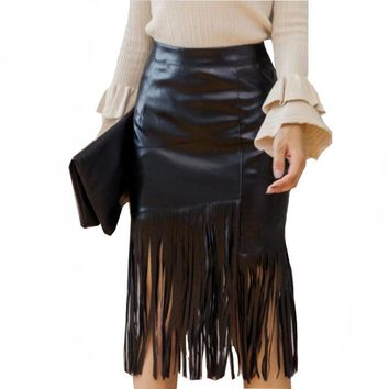 Black Faux Leather Skirts Sexy Autumn Women Tassels Skirt Fashion Irregular Tassels Midi Skirt High Waist