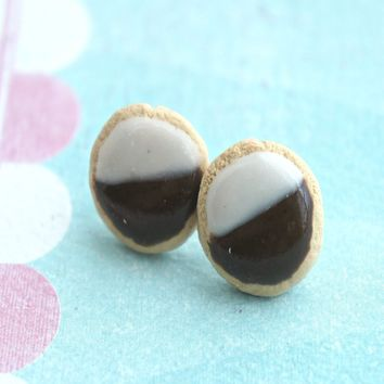 Black and White Cookies Stud Earrings