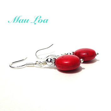 Red stone earrings - fine jewelry - all sterling silver - 9 color options - statement bracelet