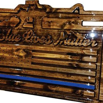 Custom Carved Wooden Signs | Blue Lives Matter | Support Officers In Blue | Made in America