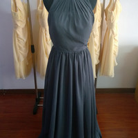 Grey Chiffon Dress Long Bridesmaid Dress Prom Dress Evening Dress Cocktail Dress Party Dress Homecoming Dress Formal Dress Handmade