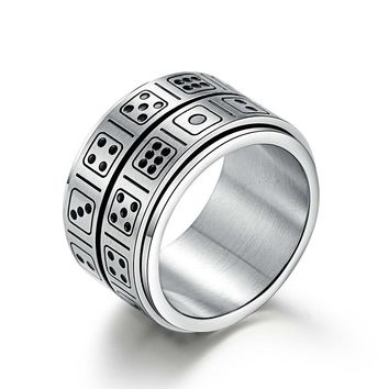 NEW 14MM Double Layer Dice Can Rotation Party Men Silver Male Signet Supernatural Ring Game Stainless Steel Thomas Sabor Jewelry