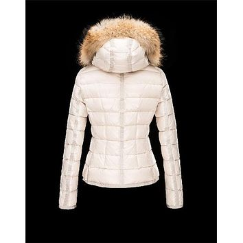 Moncler Armoise Detachable Fur Trimmed Collar Ivory Jackets Nylon/Polyamid Womens 4122