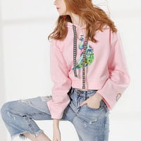 Fashion Long Sleeve Peacock Printed Cropped Hoodie - NOVASHE.com