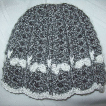 Baby Girl Hat, Newborn Baby Hat, Crochet Grey Heather Baby Hat, Scalloped Crochet Baby Hat, 0-3 Months