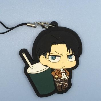 Cool Attack on Titan 1PCS  Anime Krista Lenz Rivaille Eren Armin Sasha Japanese Rubber Keychain AT_90_11