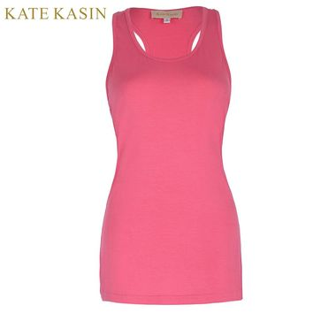 Kate Kasin Women Fitness Basic Racerback Tank Top Ladies Sexy Cotton Tops Workout Bodybuilding Fitted Long Top
