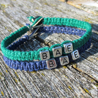 Bae Bracelets for Couples or Best Friends, Navy Blue and Dark Green Handmade Hemp Jewelry