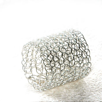 Wire crocheted band ring , silver ring