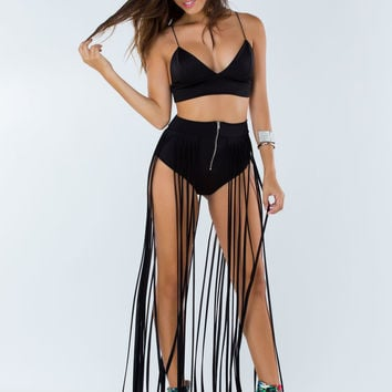 Make It Brief Long Fringe Maxi Skirt