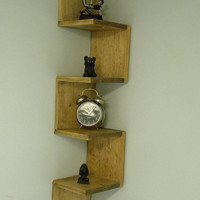 $45.99 Wall mounted corner shelf Walnut Stained by CustomWoodConcepts