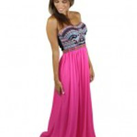 Hot Pink Maxi Dress With Embroidered Top - Pueblo
