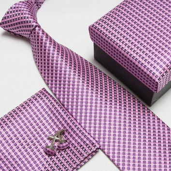 Pink Patterned Necktie Set with Matching Cufflinks, Pocketsquare and Gift Box