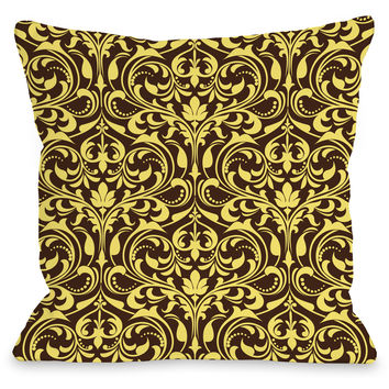 """Athena Florals"" Indoor Throw Pillow by OneBellaCasa, Espresso/Yellow, 16""x16"""