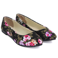 New Style Canvas Shoes Women Print Flower Loafers Shoe Fashion Flat Slip-On Woman Ladies Rose Flats Boat Shoe Size 36-42
