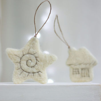 Needle Felt White Christmas Ornaments Set - Little Star, Christmas Tree, Heart, Cat And Cottage- Ornaments for Christmas tree