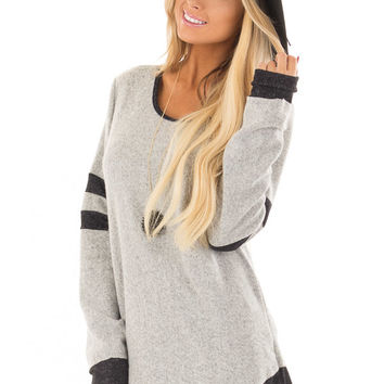 Heather Grey Top with Black Contrast
