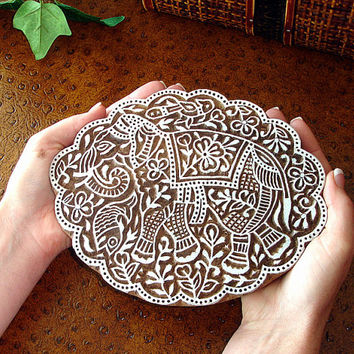 Hand Carved Wood Stamp: Elephant Stamp, Large Scalloped Indian Wooden Printing Block, from India