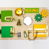 Activity Board Busy Toddler Montessori Board Sensory Fine Motor Skills Latch Toy for Travel 1 Birthday Present for Toddler Personalized Gift