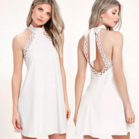 Fashion Sexy halter off shoulder backless grid splicing dress