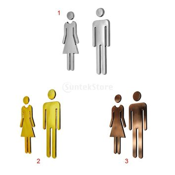 Man&Woman Toilet Sticker WC Decals Toilet Signs Restroom Washroom Signage Plaque For Shop Office Home Hotel Restaurant Decor