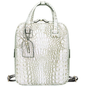 Backpack With Crocodile Embossed and Zipper Design