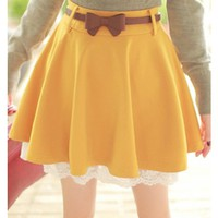 Yellow Lace Hem Knit Material Skirt Women Dress MF7800y