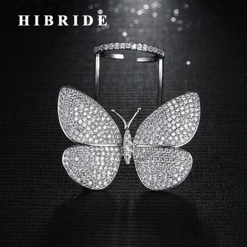 HIBRIDE New Unique Design Fly Butterfly Shape Adjustable Size Women Rings Anillos Micro CZ  Stone Pave Finger Ring R-185