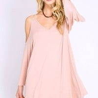 Skyla Blush Cold Shoulder Swing Dress