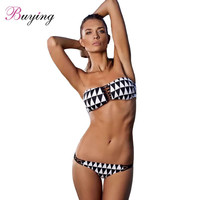 Summer Swimwear Women Swimsuit StraplessContrast Top Swimming Suit Bathing Suit Biquinis Sexy Geometric Beads Bikini Set