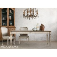 Eloquence Gustavian Dining Table in Oak Driftwood Finish