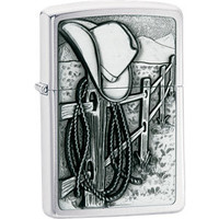 Zippo® Resting Cowboy Brushed Chrome Lighter