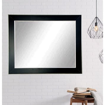 "Brandt Works Silver Accent Black Wall Mirror BM011L3 32""x55"""